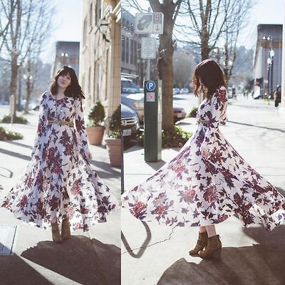 Free People First Kiss Ivory Red Floral Print Boho Maxi Dress Gown Rare