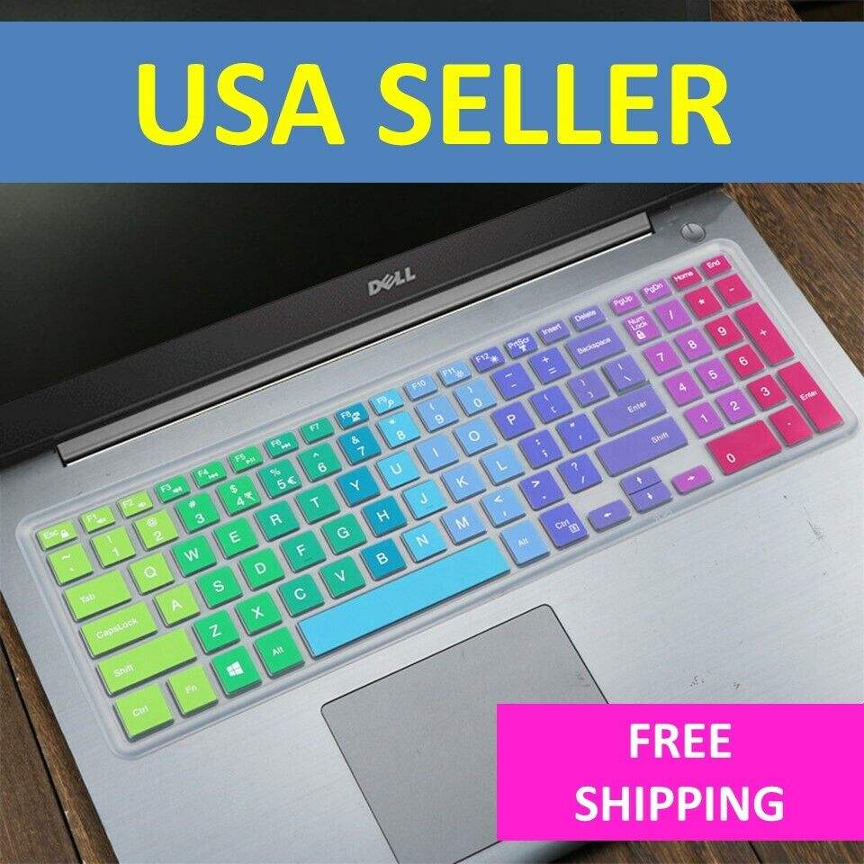 """Rainbow Keyboard Protector Skin Cover Dell Inspiron 15"""" 3000"""