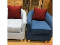 Stylish Tub Chairs Blue and Grey Fabric WASHABLE COVER