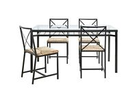 IKEA Glass top, black framed dining table with 4 chairs