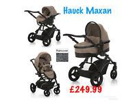 shop display hauck maxan 3 in 1 travel system in unisex beige pram pushchair car seat from birth