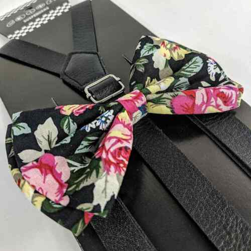 Black Leather Floral Suspender And Bow Tie Set Tuxedo Wedding Formal Accessory