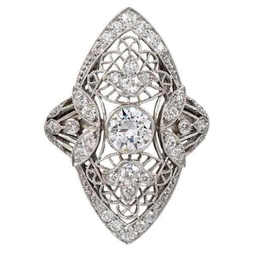 Navette Shape Art Deco Design Bezel Set Old Mine Cut Cubic Zirconia Wedding Ring