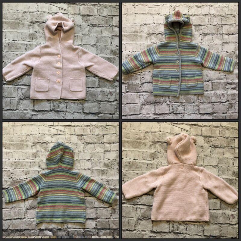 Baby Gap Gray Stripe & Pink Cotton Knit Bear Ears Button Up Hoodie Size 12-24 M