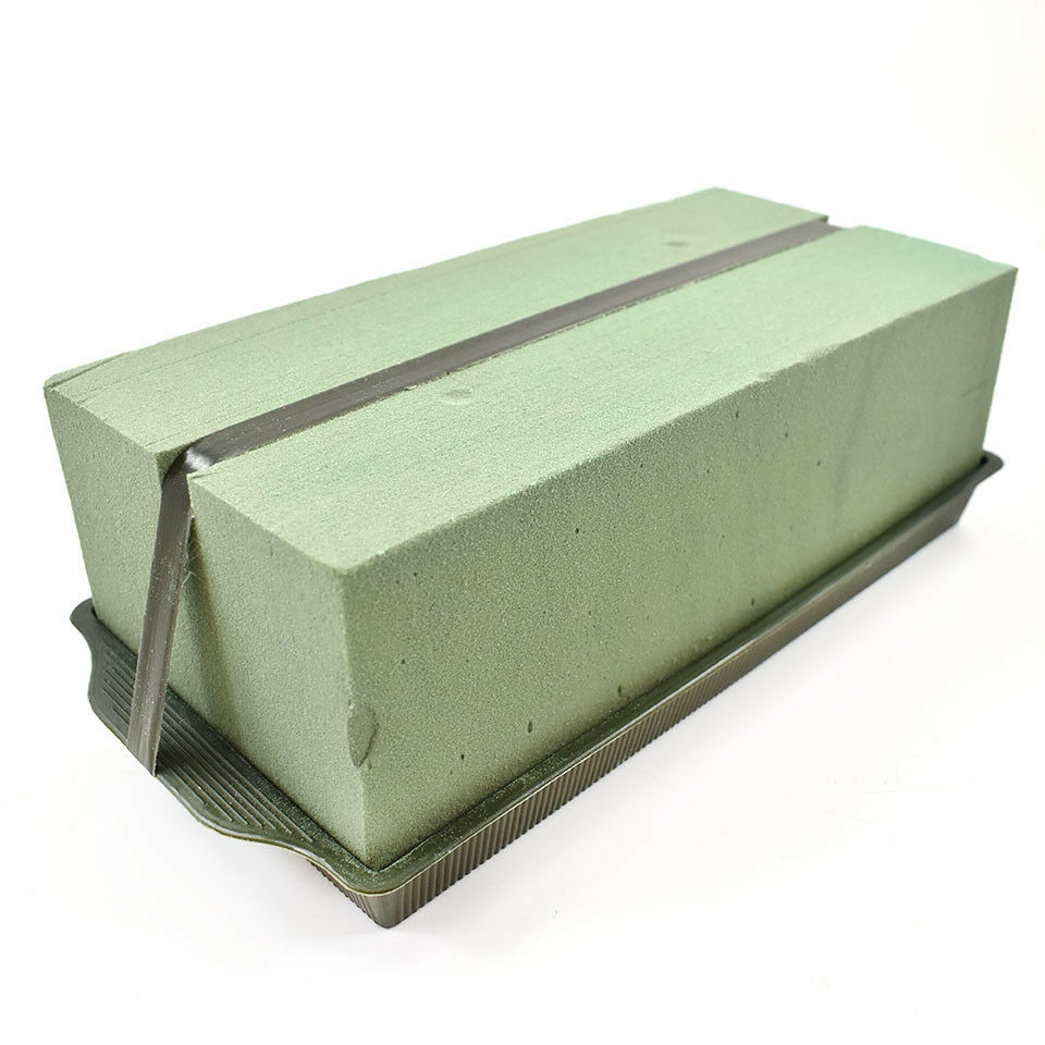 TRIPLE FLORAL PLASTIC ARRANGEMENT TRAY WITH THREE GREEN WET OASIS BRICK AND TAPE