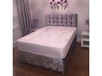 New stylish crush velvet double or kingsize bed