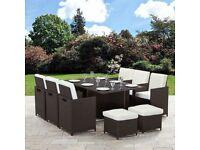 Brown 11 Piece 10 Seater Rattan Garden Furniture Set.