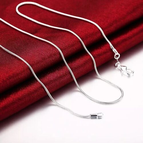 925 Sterling Silver Stamp 925 SNAKE 1mm Chain Necklace 18″ or 20″ 2PCS Fashion Jewelry