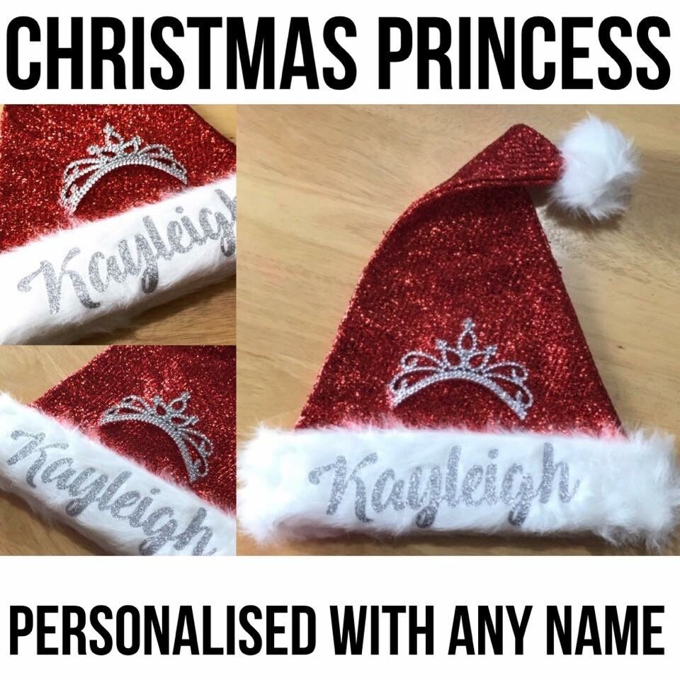 Christmas Princess Hat Personalised in Silver Glitter Any Name only £7 inc p&p