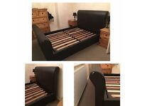 Faux leather high scroll top double bed