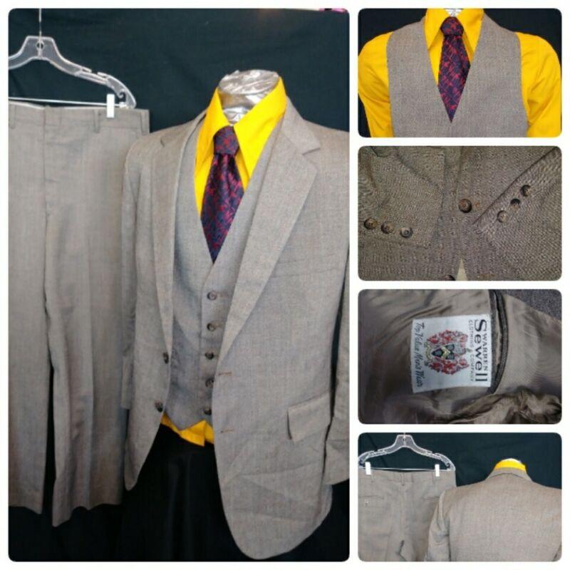VTG 1960s Warren Sewell 40R Suit 3PC Wool Fleck Tan Brown Vest Pants 36x29 Mens