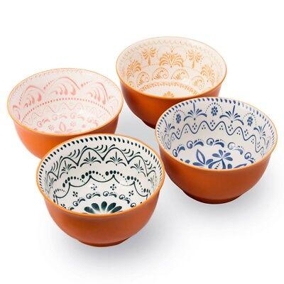 High Quality Large 6 Inch Ceramic Cereal Soup Pasta Bowl Set 4 Pcs Ceramic Bowls ()