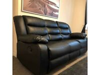 ¬¬ SAME DAY & NEXT DAY DELIVERY AVAILABLE ¬¬ RECLINER BLACK LEATHER 3+2 SOFA SET IN STOCK