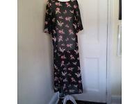 Long, transparent, floral dress UK size 18