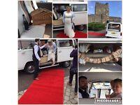 Classic VW T2 wedding camper hire. Seats 8 PSVd