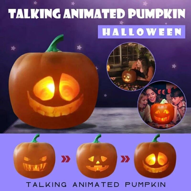 3-In-1 Halloween Talking Animated Pumpkin Built-In Projector Speaker Party Decor
