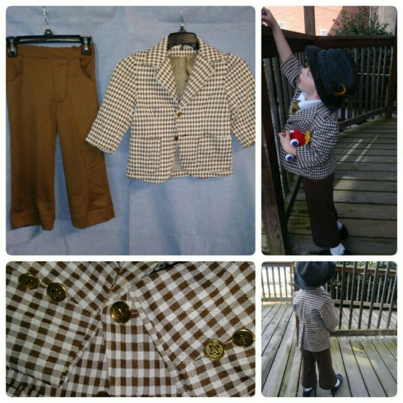 VTG 4T Brown Checkered Leisure Suit Boys Bell Bottom Pants and Jacket 2PC Poly