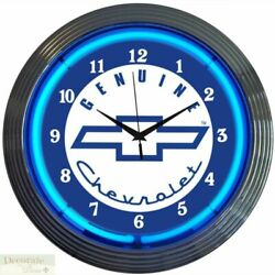 GM CHEVROLET Genuine Neon 15 Wall Clock Glass Face Chrome Finish Warranty New
