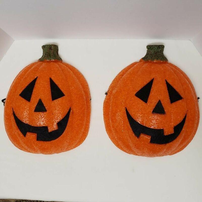 Gel Melted Popcorn Sparkling Pumpkin Jack O Lantern Porch light Covers -Set of 2