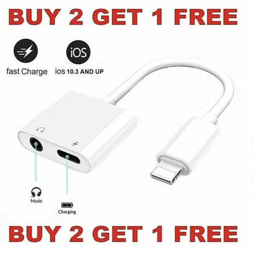 Dual Adapter 3.5mm Headphone & Charger 2 in 1 Adapter for iPhone 12 11 XR XS X 8