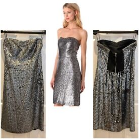 484791d52f Rebecca Taylor Occasion Dress Sequin Strapless 100% Silk Lining RRP £460