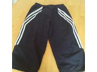 "Ladies Adidas half leg trackies with drawstring UK size 10 waist 28"""
