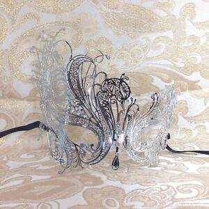 Luxury-Silver-Swan-Elegant-Metal-Laser-Cut-Venetian-Halloween-Masquerade-Mask