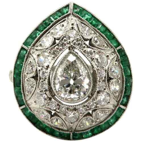 Gorgeous Pear Art Deco Style Old Mine Cut CZ & Emerald Milgrain Design Fine Ring