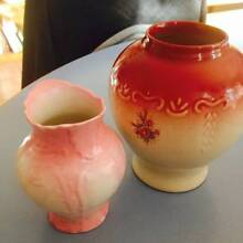 2 vases shabby chic pink with roses Mill Park Whittlesea Area Preview