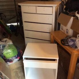 Tall white wooden chest of drawers