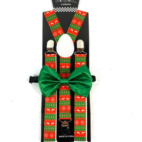 Christmas Red Green Candy Cane Reindeer Suspender + Bow Tie Set  Accessory