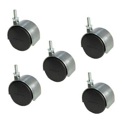 Set Of 5 Shepherd 2 Satin Chrome Twin Wheel Caster With 14 Threaded Stem