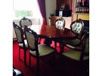 regency dining table & 6 Italian leather chairs