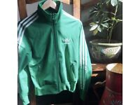 Adidas green zip up bomber/shell suit style jacket