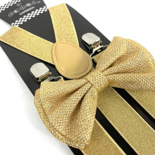 Gold Glitter Suspender And Bow Tie Set Tuxedo Wedding Formal Accessory