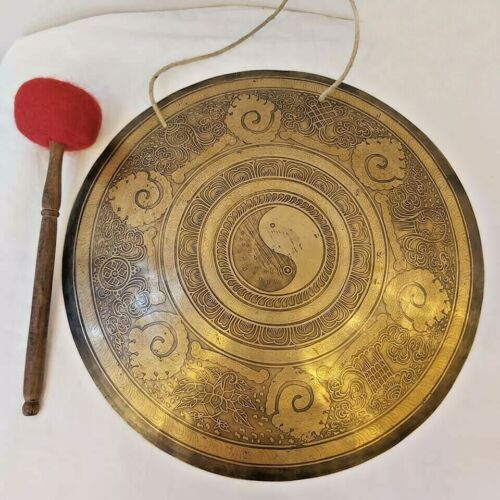 20 inches Diameter yin yang Carved gong-Temple gong-Mantra carved gong-Nepal