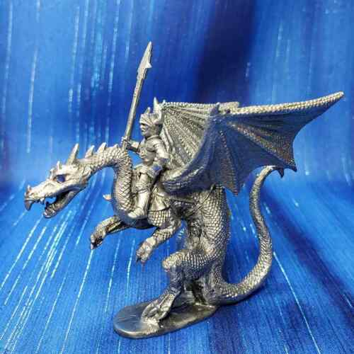 Chaos Knight Rider & Dragon Blue Eyes Pewter Figurine Rawcliffe US Made *NEW*