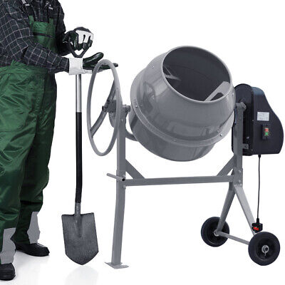 Portable 120L Grey Electric Cement Mixer Concrete Mortar Plaster Drum with Wheel