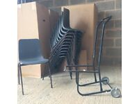 Stacking chairs x 36 - black plastic chairs with metal legs and trolley