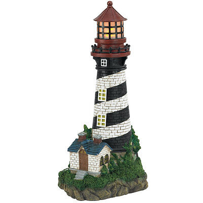 Solar Powered Lighthouse Nautical Decor Outdoor Living Garden Lawn Yard Ornament