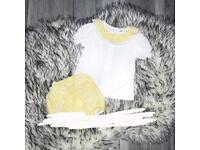 Girls lemon bow jam pant set