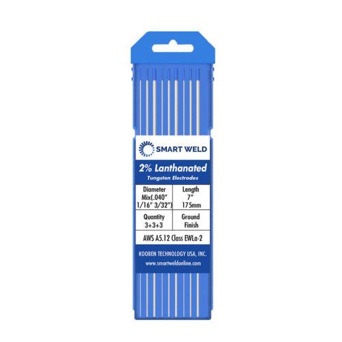 "Blue TIG Welding Tungsten Electrode Assorted 9 pack (.040"" 1/16"" 3/32"", 3 each)"