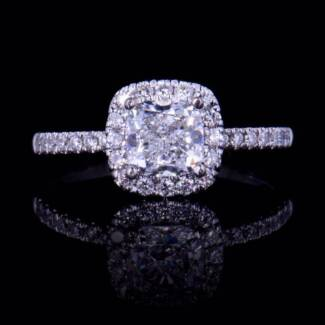 18K GIA CERTIFIED 1 CARAT CUSHION CUT DIAMOND RING. D/SI2 $22,400