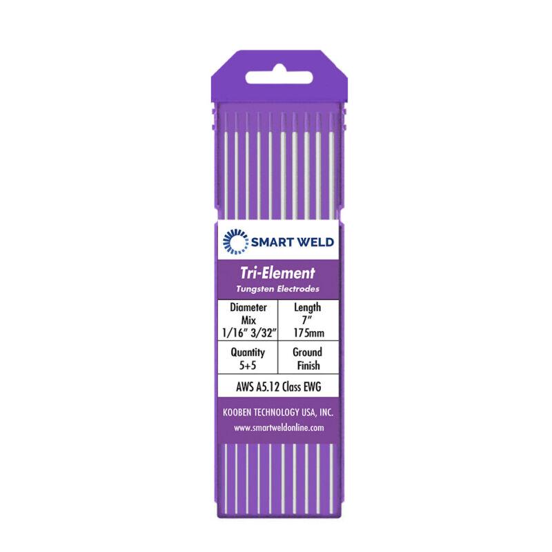 "Purple TIG Welding Tungsten Electrode Assorted 10 pack (1/16"" 3/32"", 5 each) Tri"