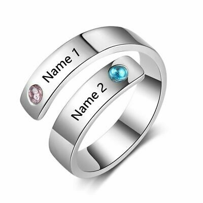 Personalized Wedding Rings (Personalized Ring Wedding Engagement Custom Engrave Name Birthstone Rings)