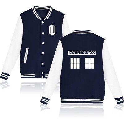 Doctor Who Police Box Baseball Coat TARDIS Boys Uniform Jacket Sweatshirt Tops