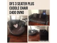 DFS Black and Grey sofa and cuddle chair