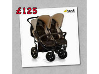 NEW HAUCK ROADSTER DUO SIDE BY SIDE TWIN DOUBLE PRAM PUSHCHAIR UNISEX FROM BIRTH
