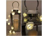 Set of 3 Wedding Aisle Metal Lanterns with flickering candle and a string of light up white roses