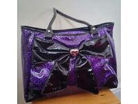 Lovely purple handbag in leopard print with bowtie